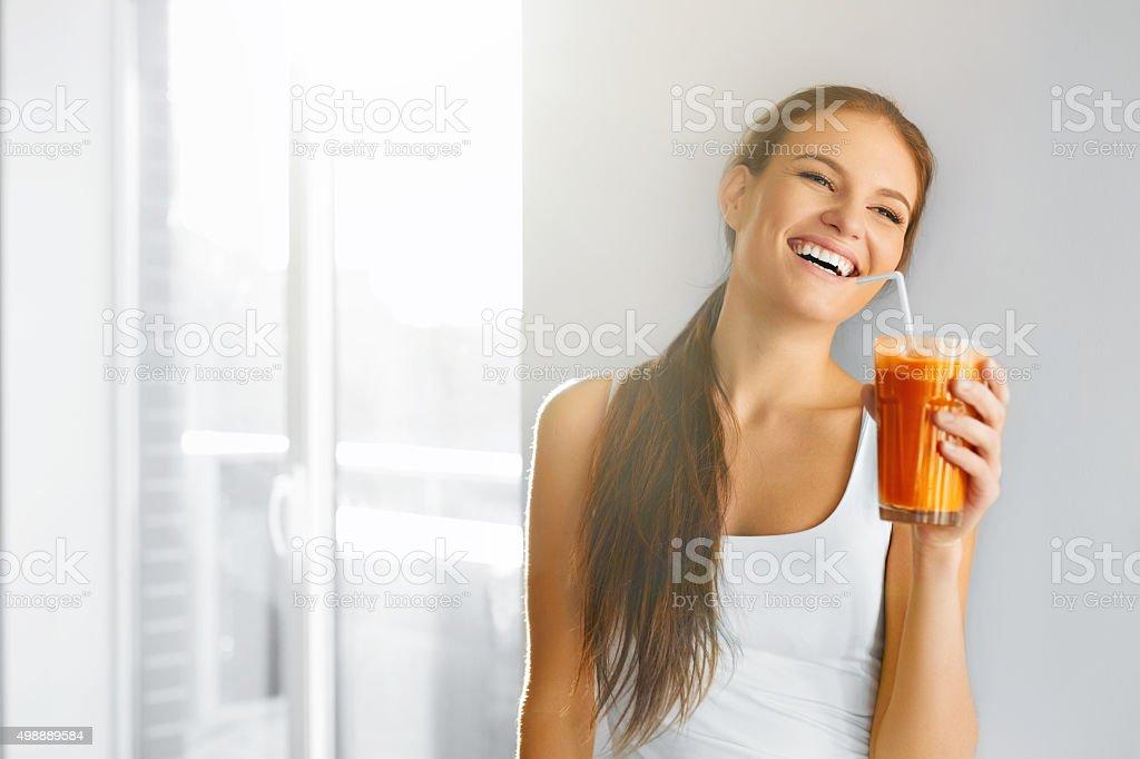 Healthy Lifestyle. Closeup Of Beautiful Smiling Vegetarian Woman...