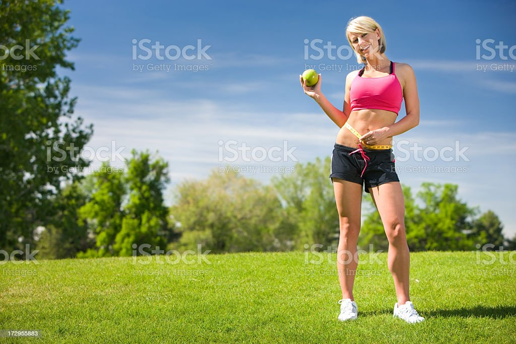 Healthy Lifestyles-Dieting Girl Outdoors stock photo