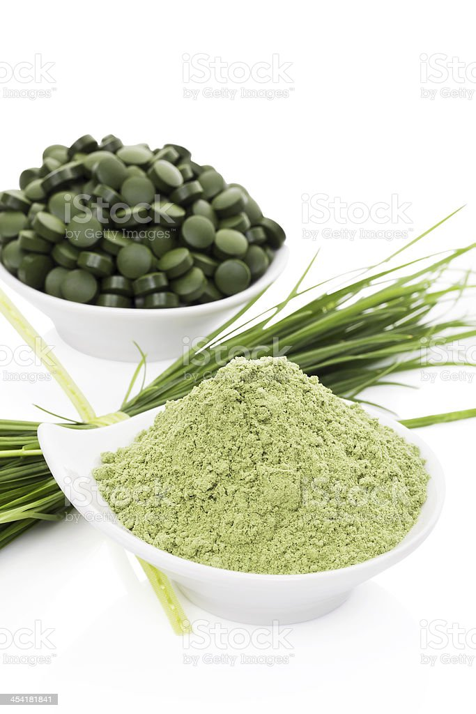 Healthy living. Spirulina, chlorella and wheatgrass. royalty-free stock photo