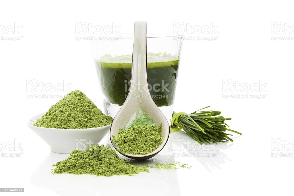 Healthy living. Wheatgrass. royalty-free stock photo