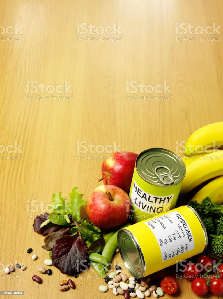 Healthy living with Fresh Fruit and Vegetables stock photo