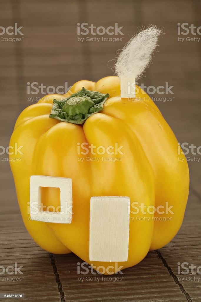 Healthy living with yellow peppers stock photo