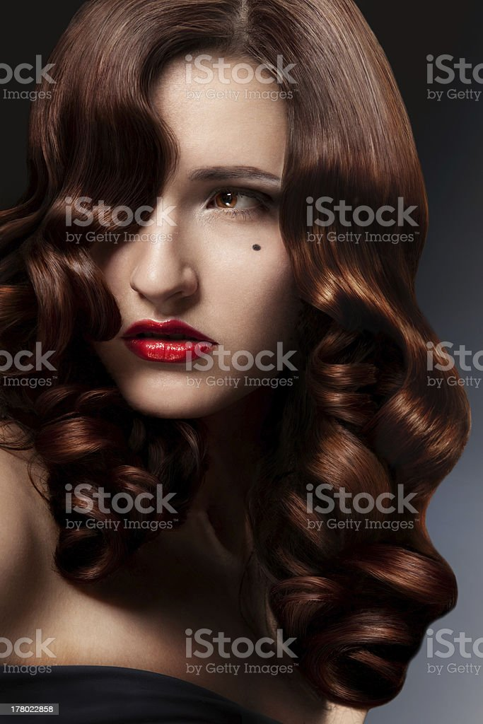 Healthy Long Curly Hair. royalty-free stock photo