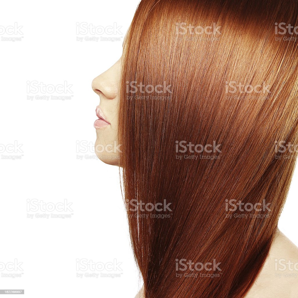 Healthy Long Hair,White background stock photo