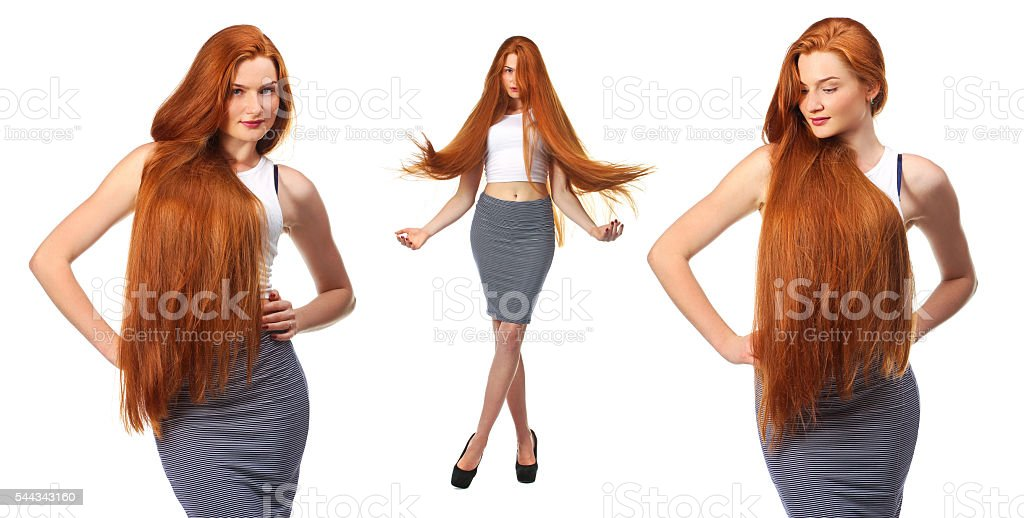 Healthy Long Red Hair. stock photo
