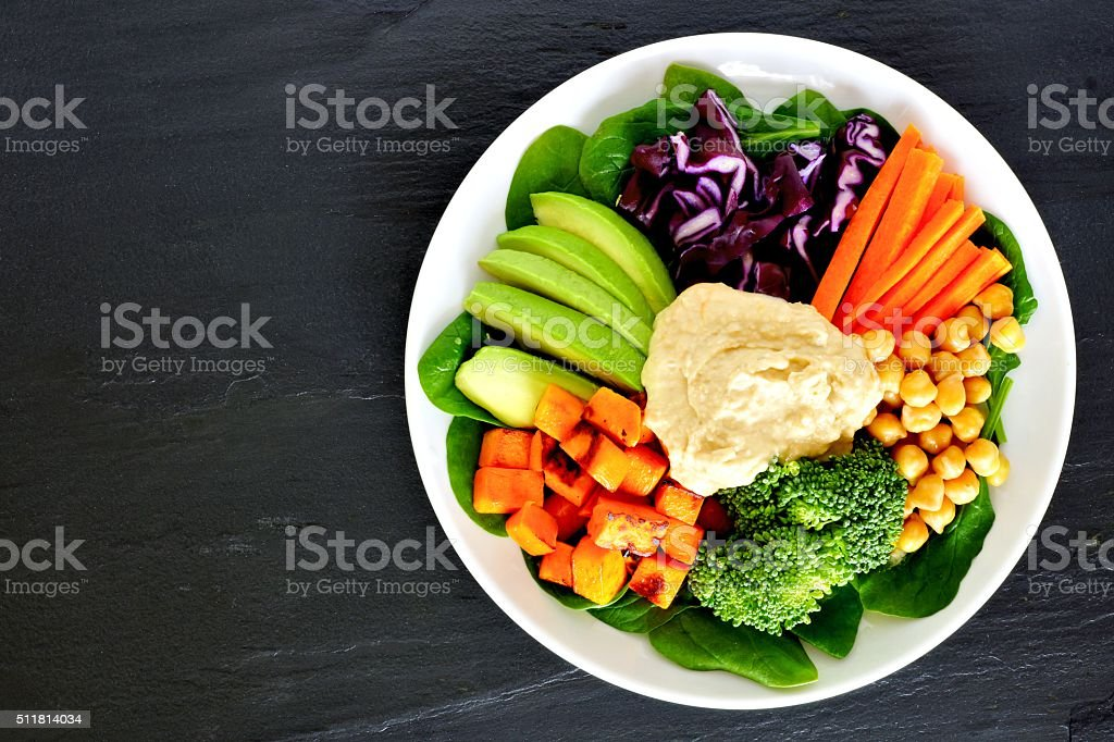 Healthy lunch bowl with super-foods and mixed vegetables stock photo