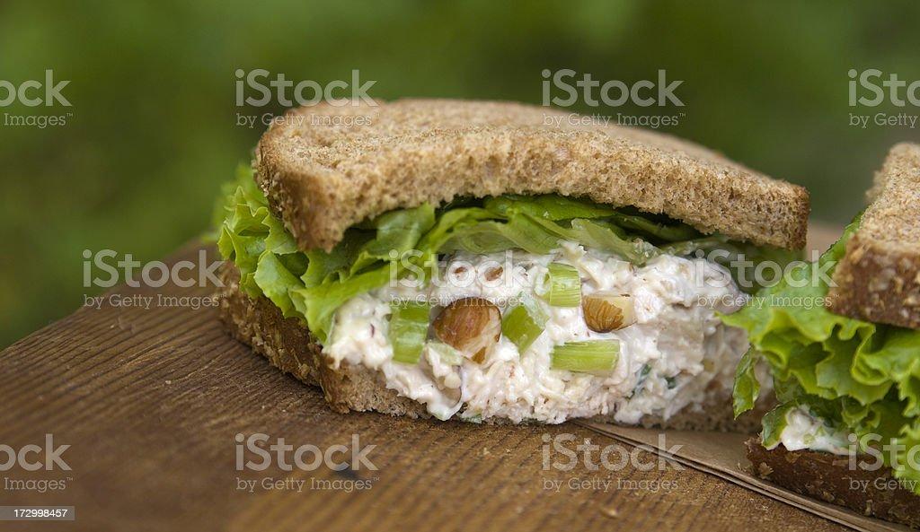 Healthy Lunch, Gourmet Chicken Salad Sandwich & Vegetables on Brown Bread stock photo