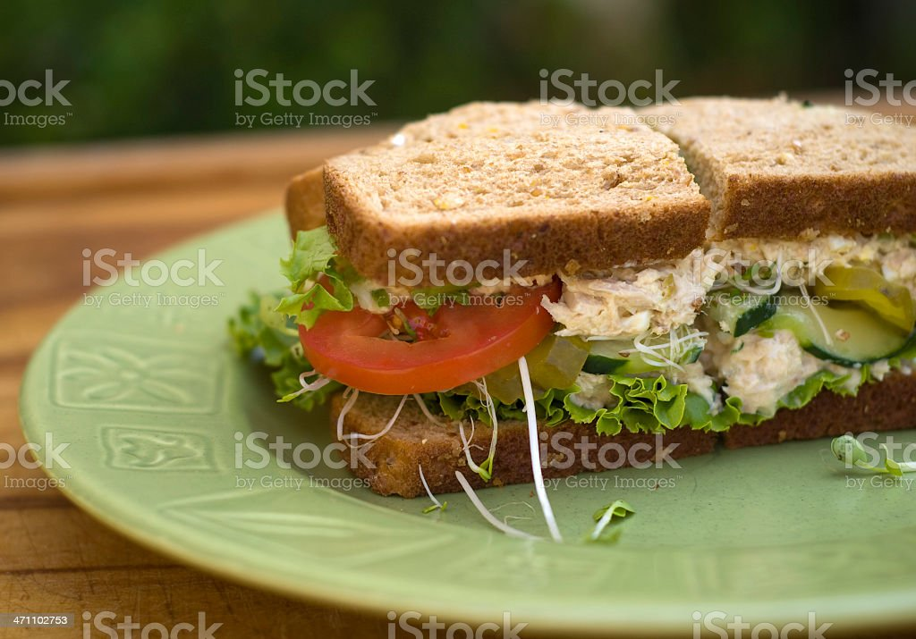 Healthy Lunch, Tuna Salad Sandwich with Vegetables on Brown Bread royalty-free stock photo