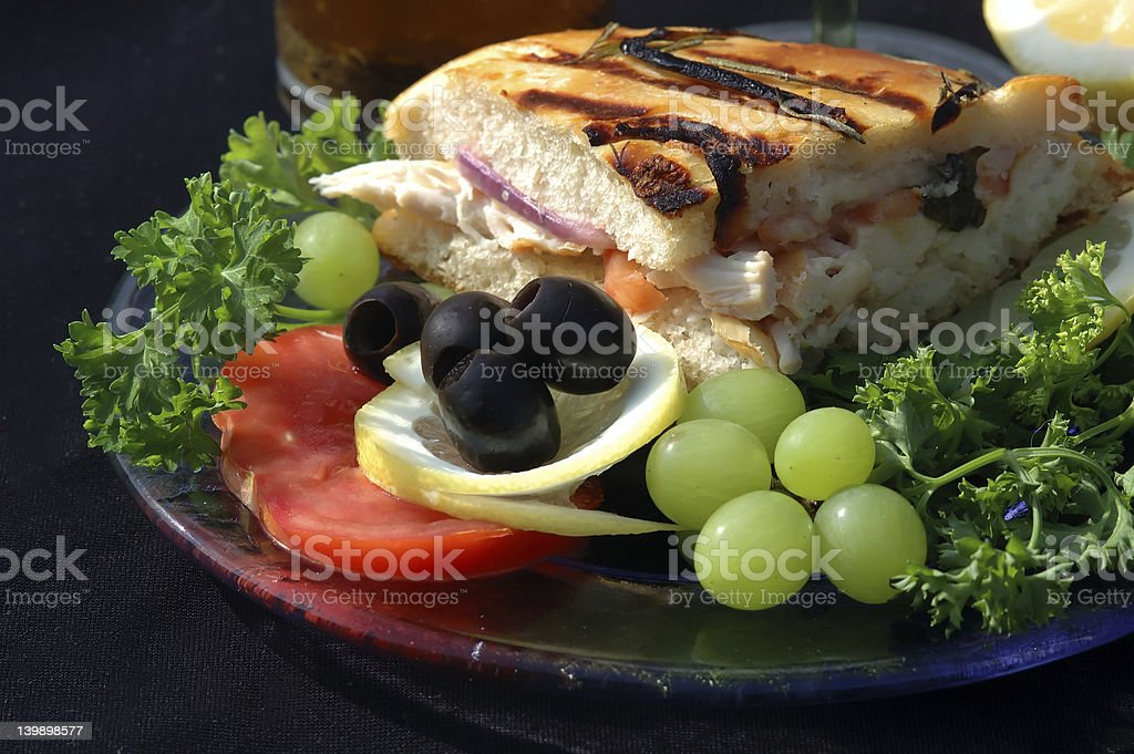 Healthy lunch with chicken sandwich, vegies and fruits royalty-free stock photo