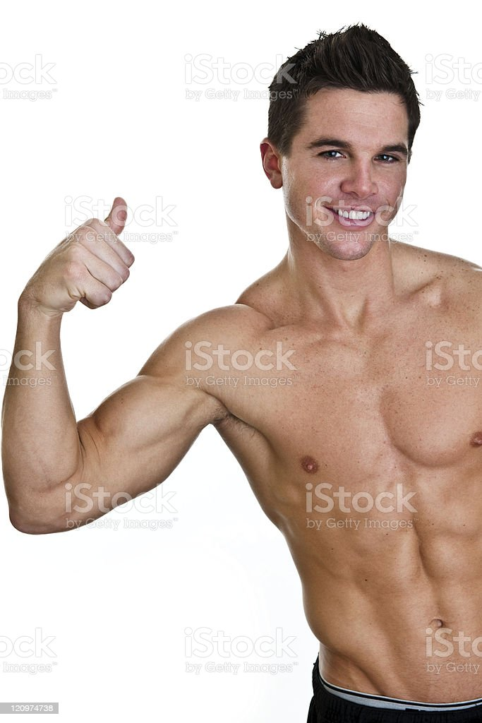 Healthy man giving thumbs up royalty-free stock photo