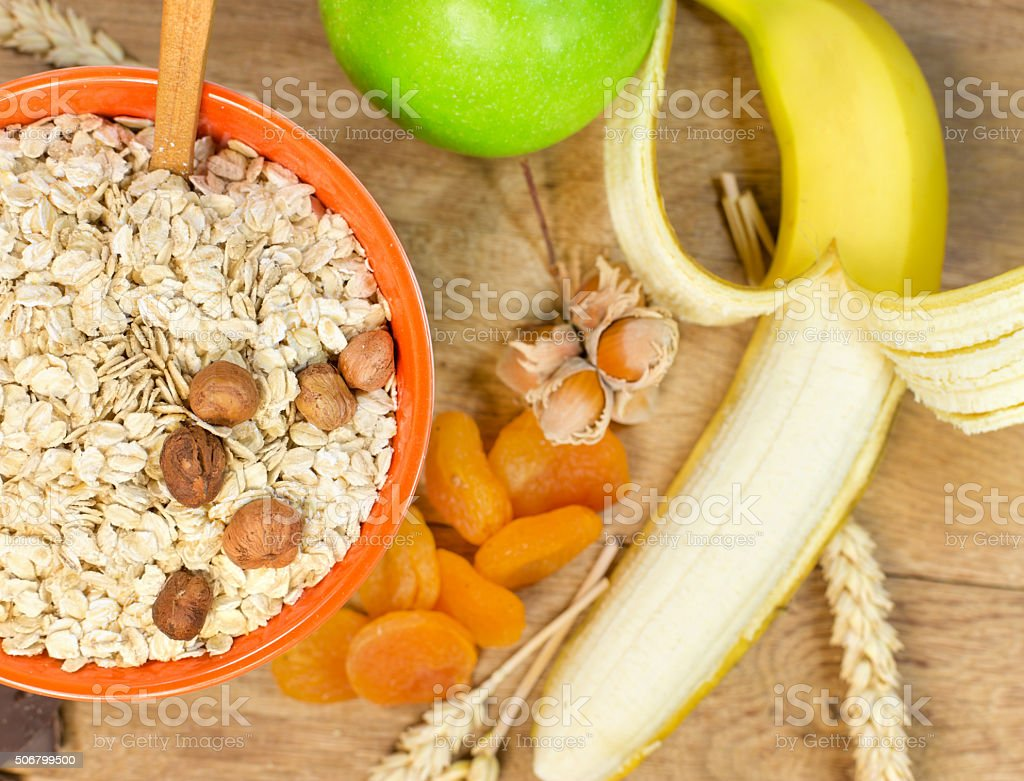 Healthy meal for a healthy diet - oat flakes stock photo