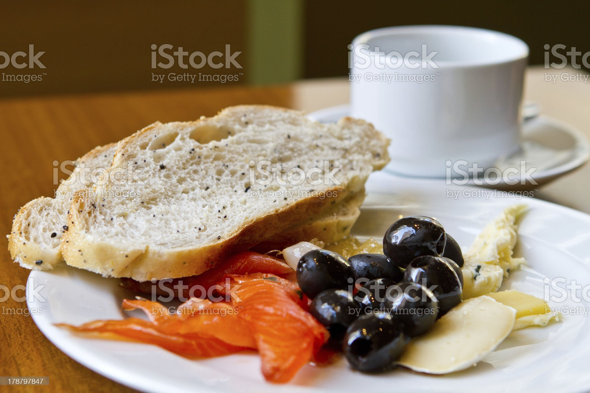 Healthy meal with olive, salmon and cheese royalty-free stock photo