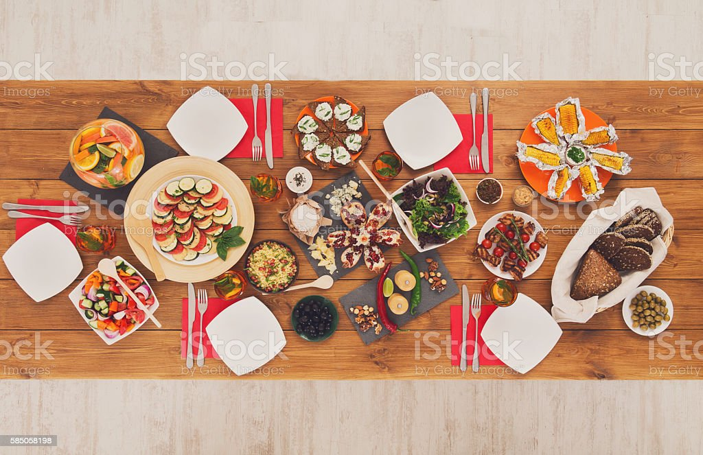 Healthy meals at festive table served for dinner party stock photo