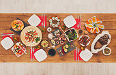 Healthy meals at festive table served for dinner party