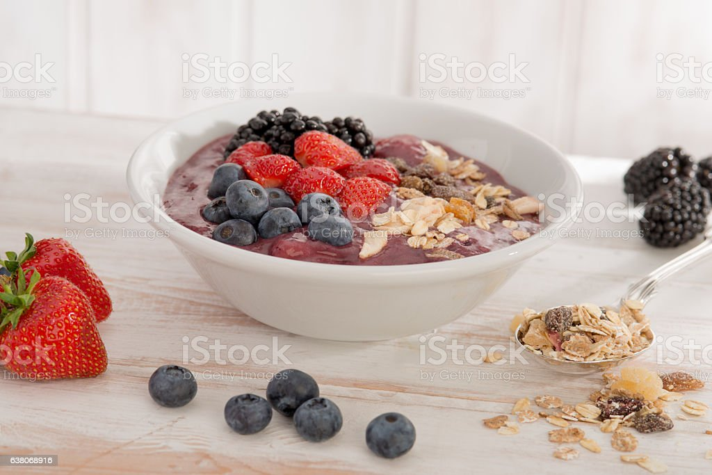 Healthy morning Bircher Muesli stock photo