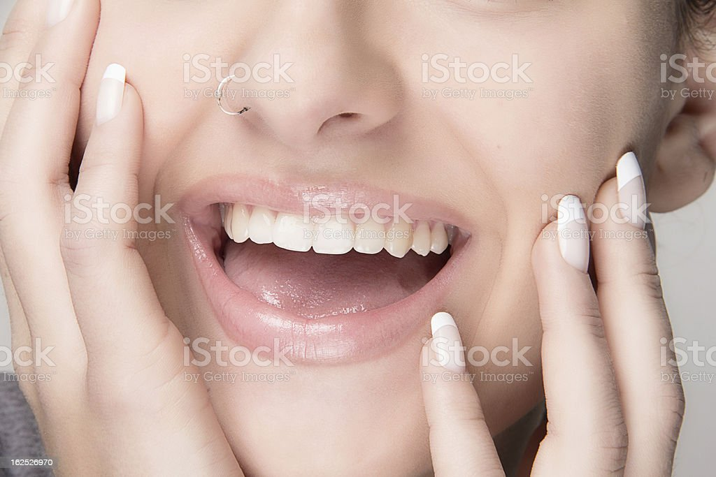 Healthy Mouth. Beauty Smile. French Manicure royalty-free stock photo