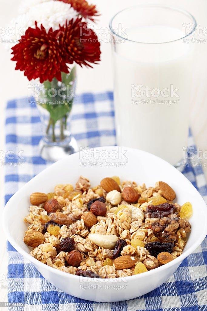 Healthy muesli breakfast with huts and raisin stock photo