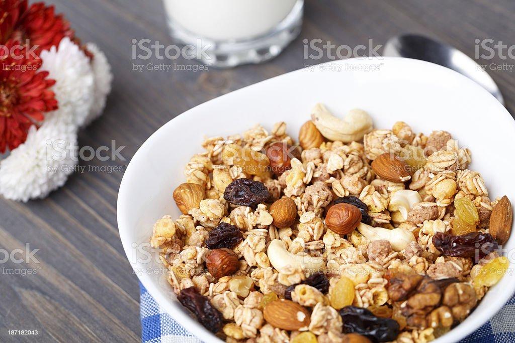 Healthy muesli breakfast with nuts and raisin royalty-free stock photo