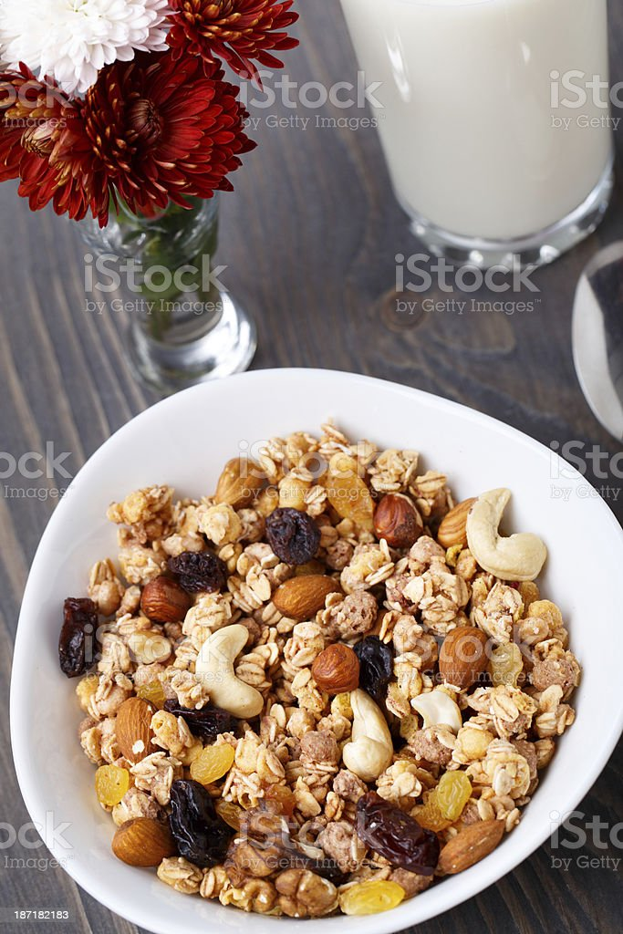 Healthy muesli breakfast with nuts and raisin royalty-free stock photo