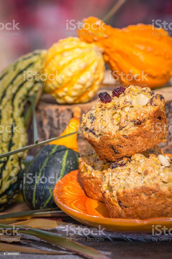 Healthy muffins butternut squash stock photo