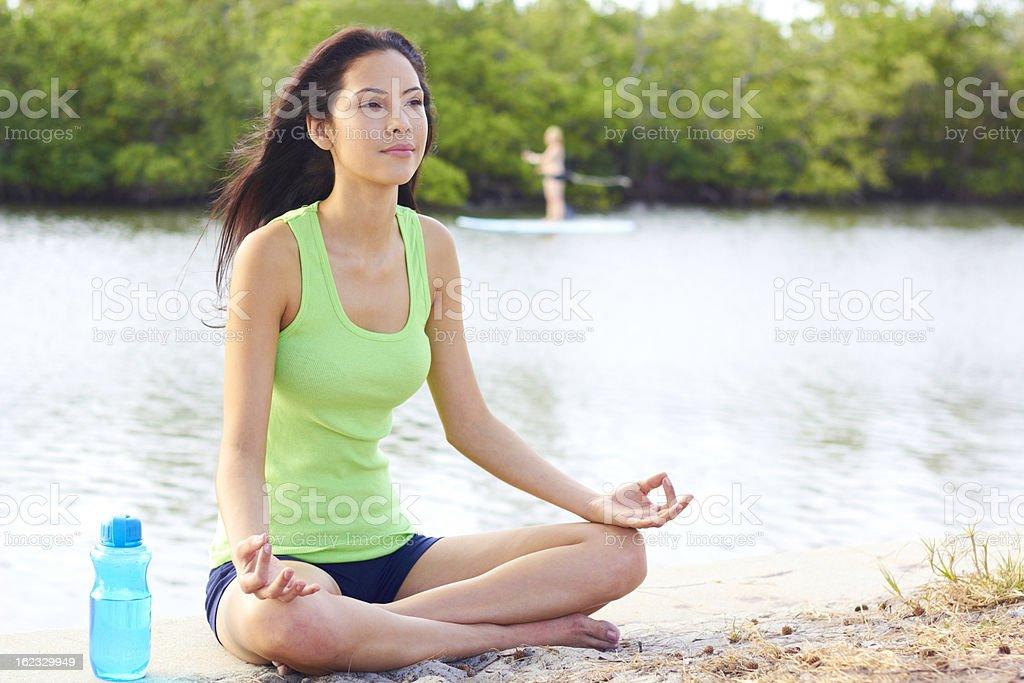 Healthy Multi Ethnic Woman Doing Yoga royalty-free stock photo