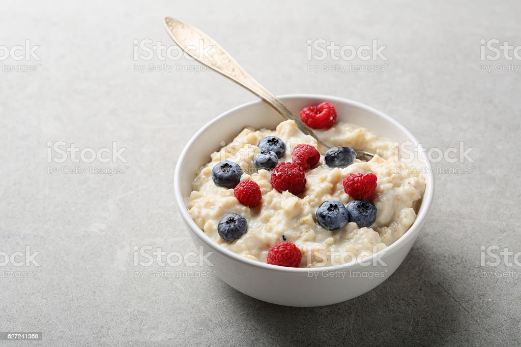 Healthy musli with berry stock photo