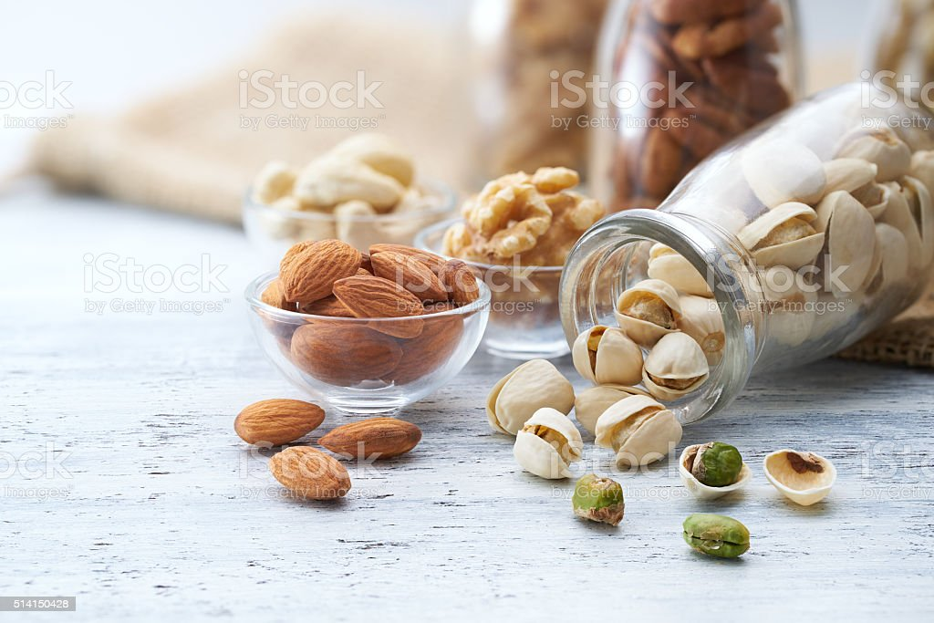 Healthy nuts stock photo