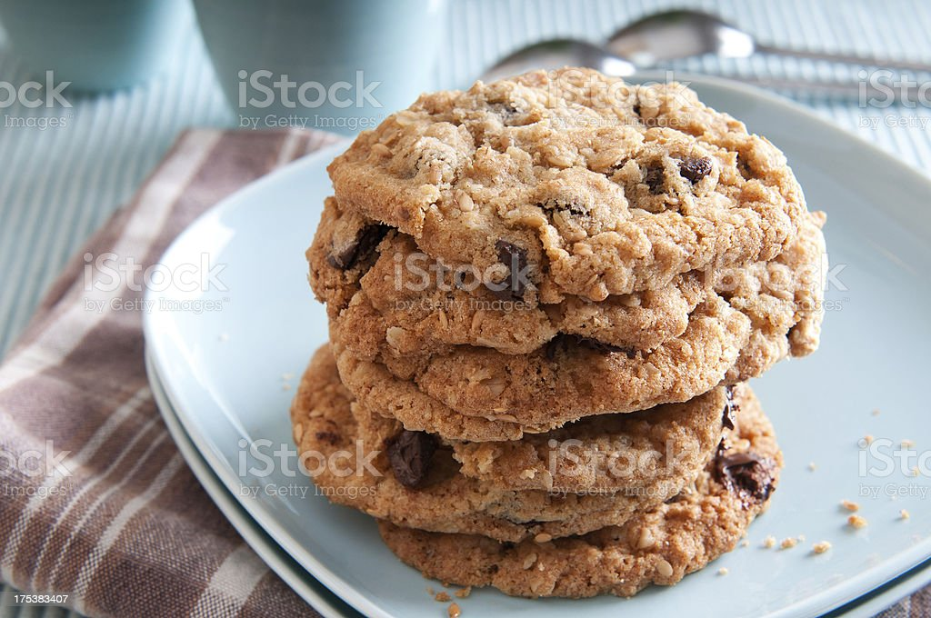 Healthy Oatmeal Chocolate Chip Cookies stock photo