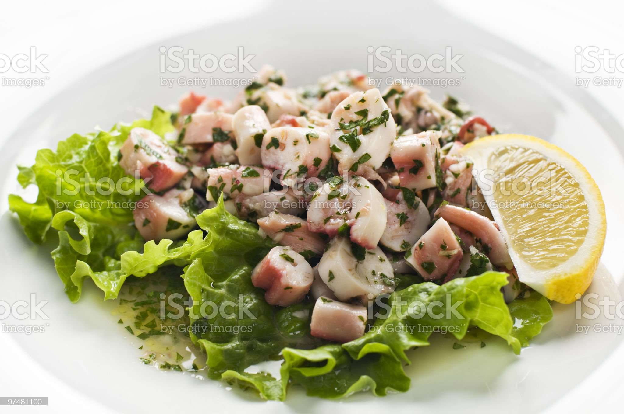 Healthy octopus salad with fresh veggies royalty-free stock photo