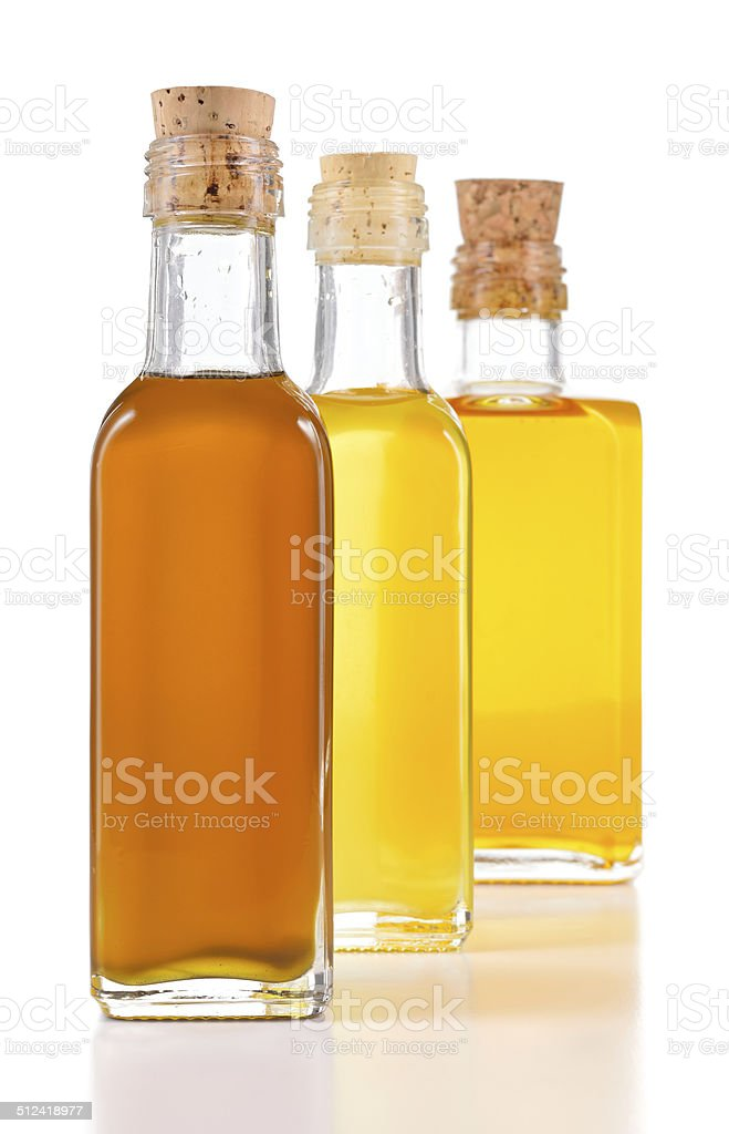 Healthy oils with unsaturated fats isolated. stock photo