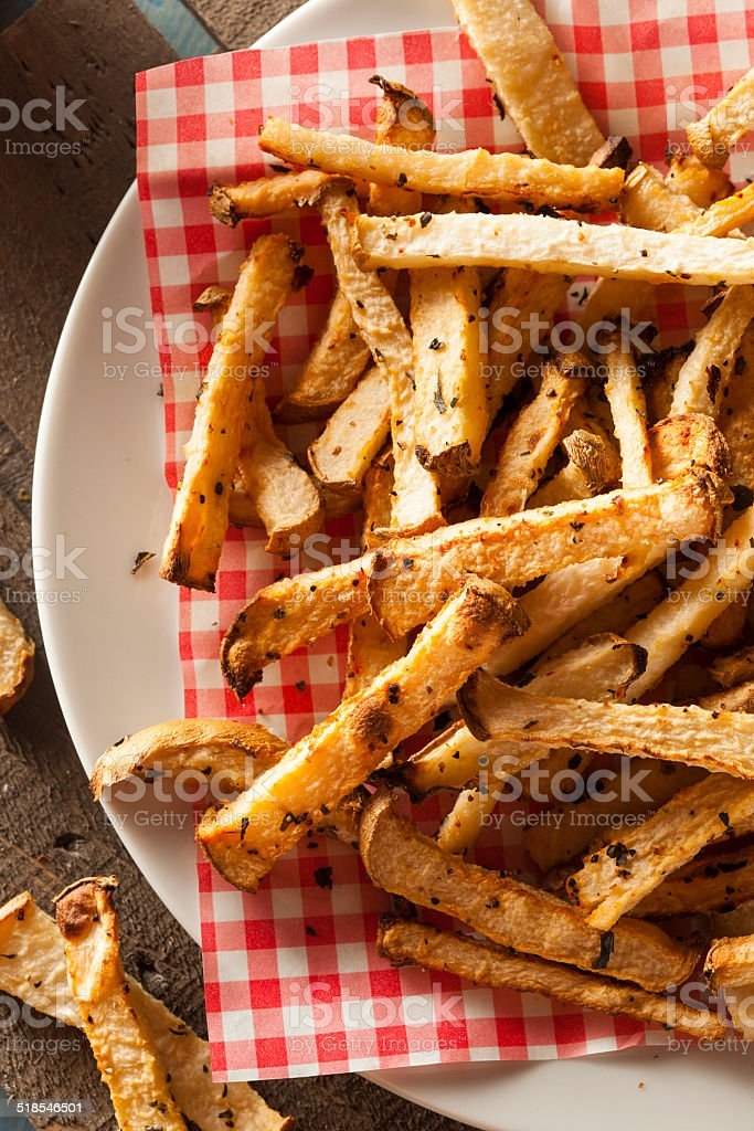 Healthy Organic Jicama Fries stock photo