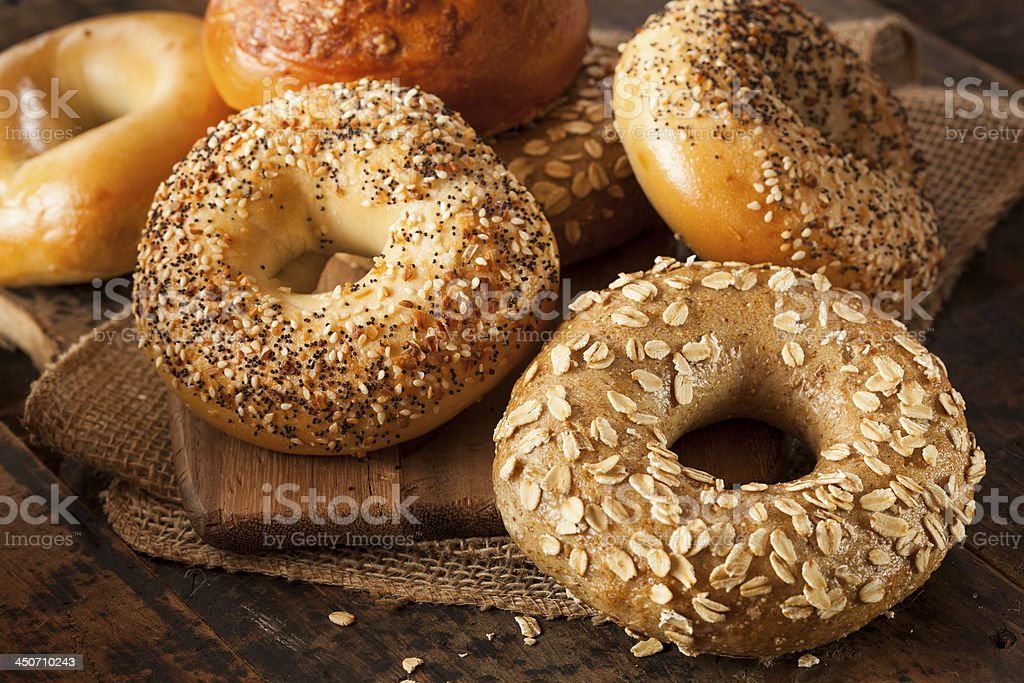 Healthy Organic Whole Grain Bagel stock photo