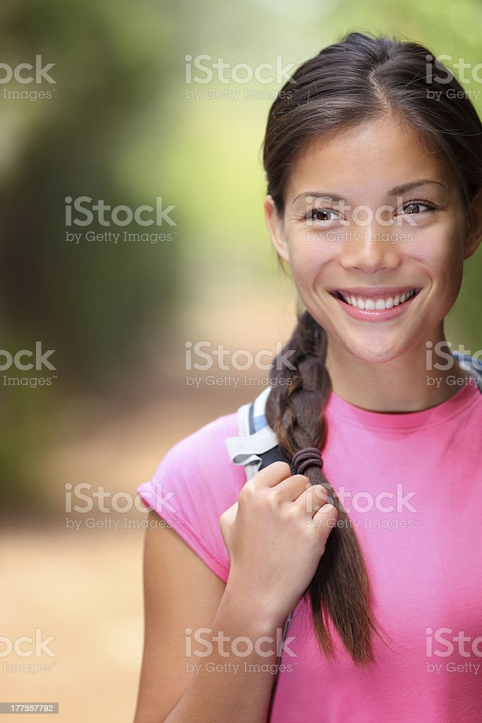 Healthy outdoors woman hiking stock photo