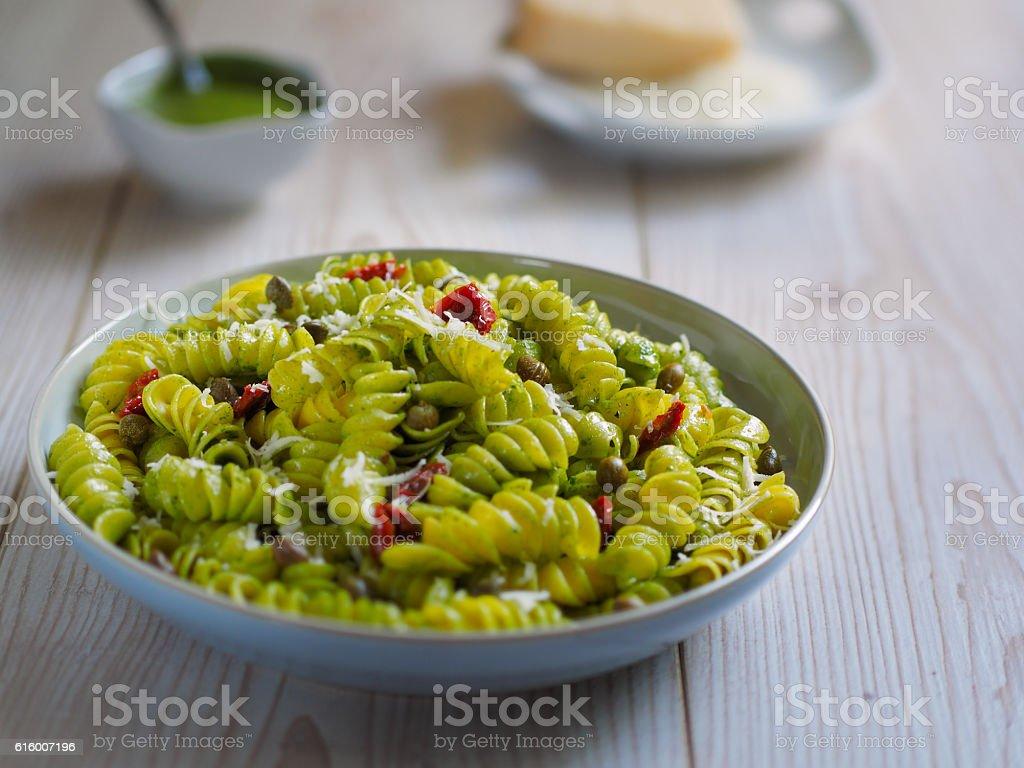 healthy pasta salad stock photo