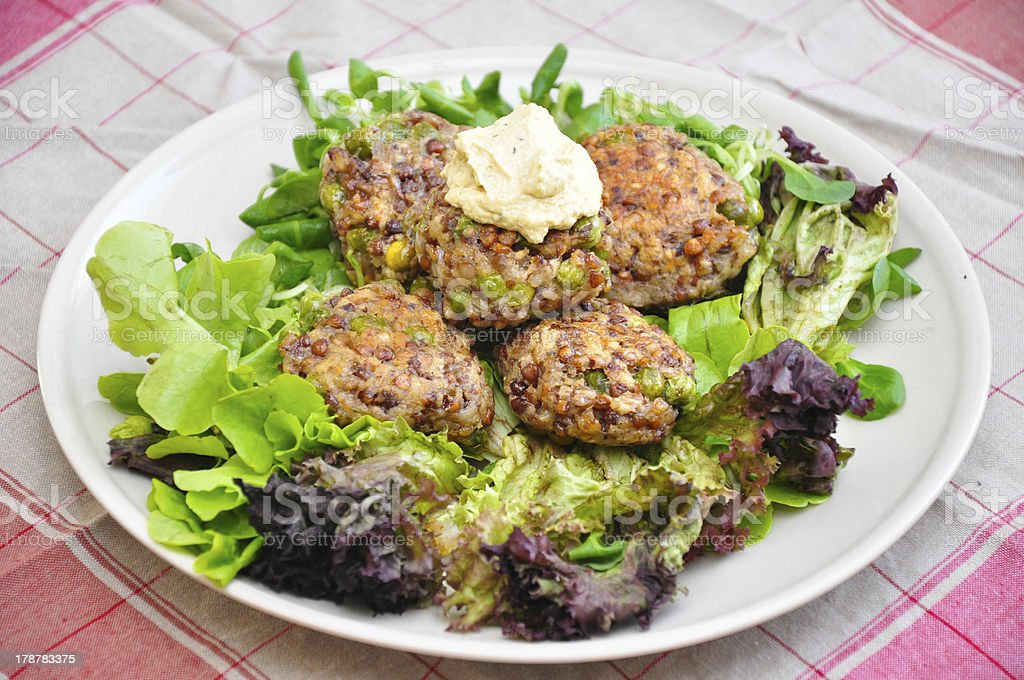 Healthy patties with salad royalty-free stock photo