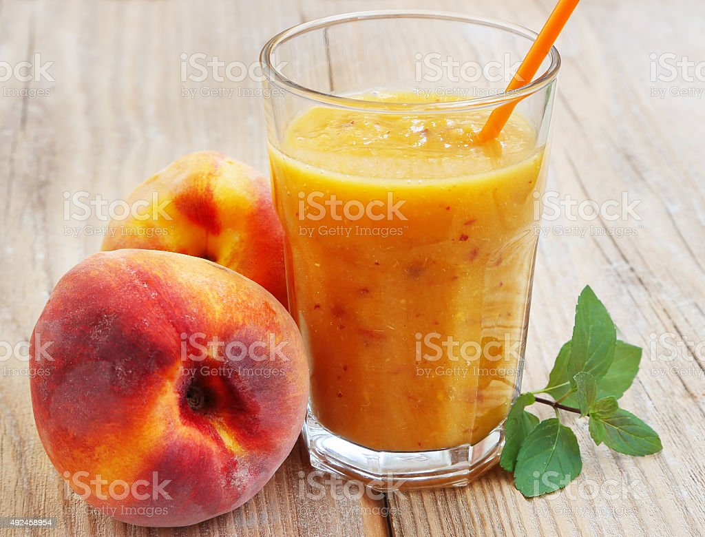 Healthy Peaches Smoothie in a Glass stock photo