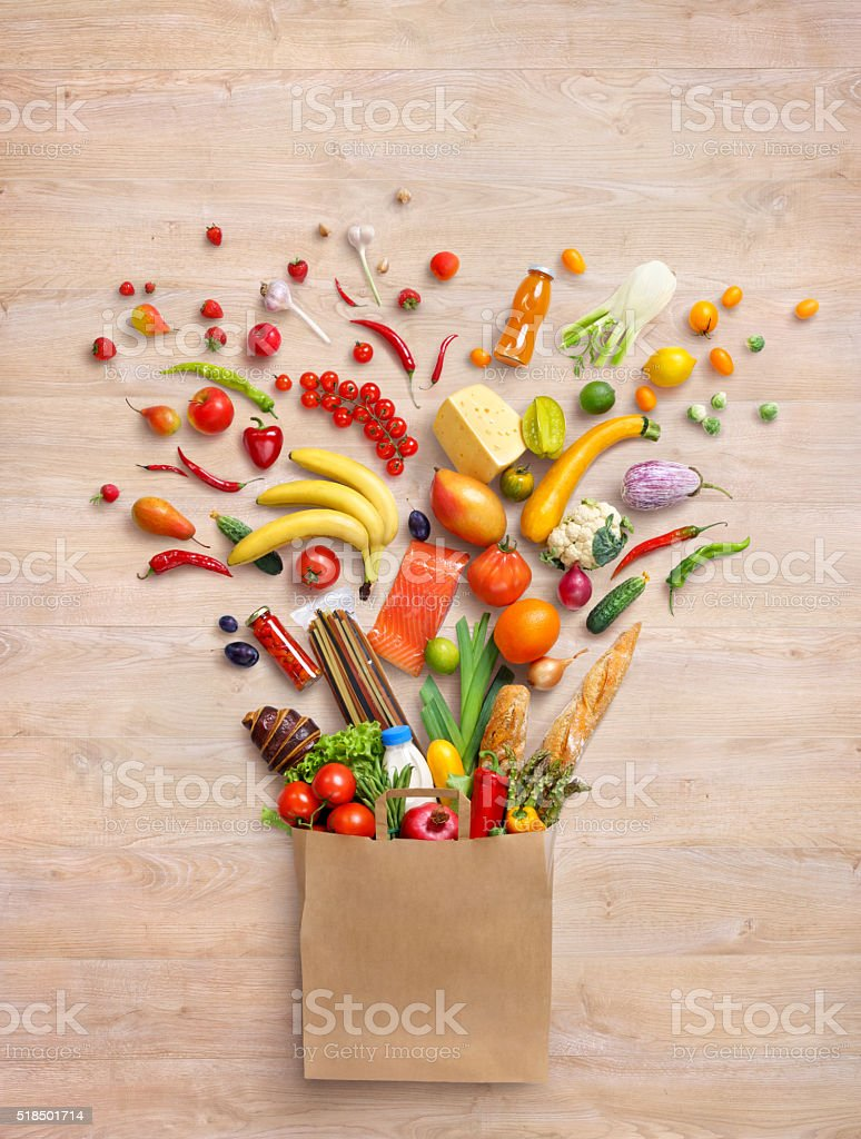 Healthy products in package. stock photo