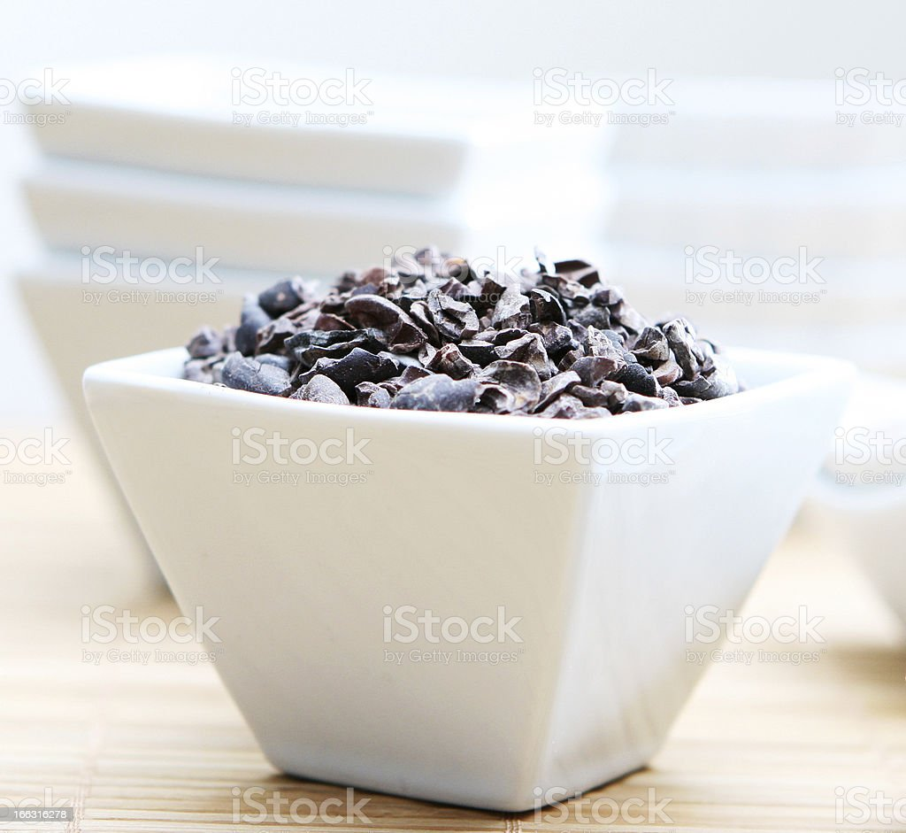 Healthy Raw Cacao Nibs Close Up stock photo