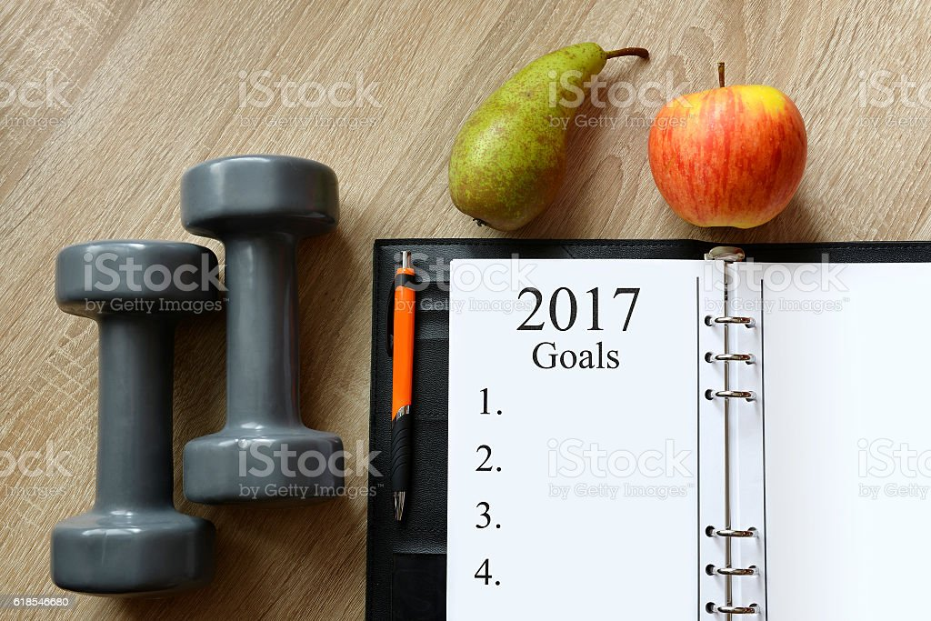Healthy resolutions for the New Year 2017. stock photo