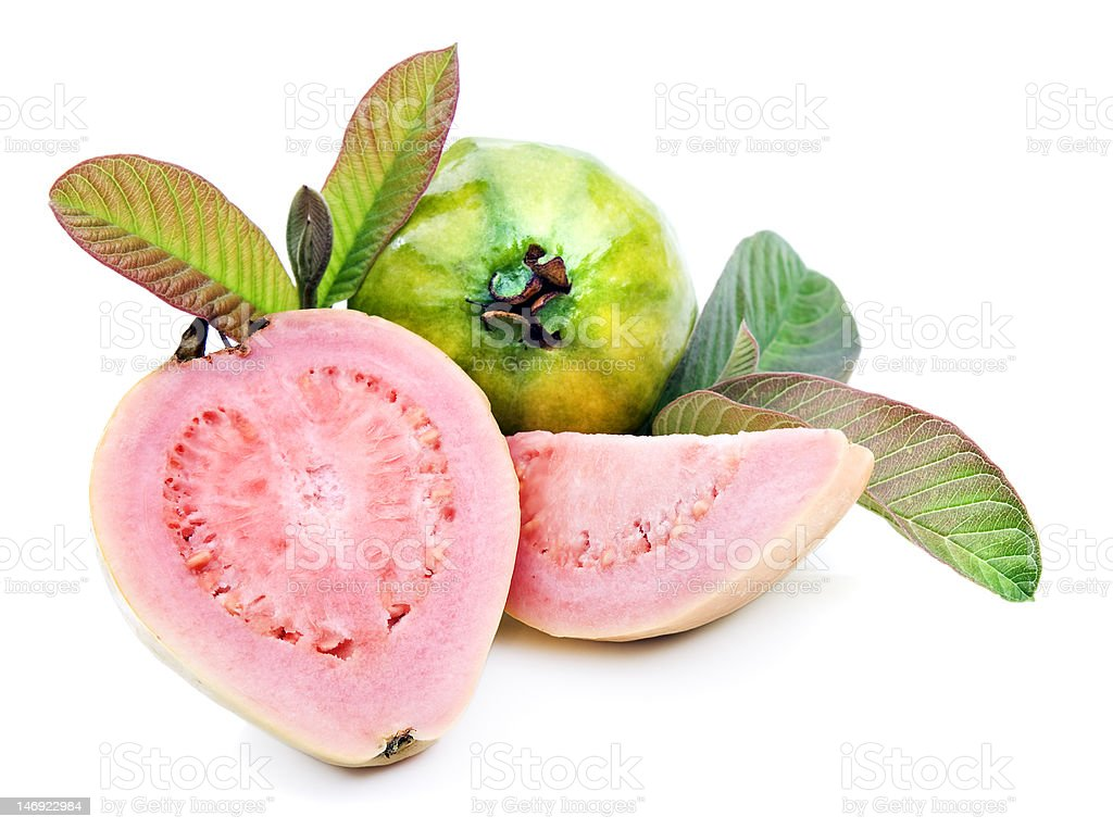 Healthy ripe fresh guavas on white backgroud stock photo
