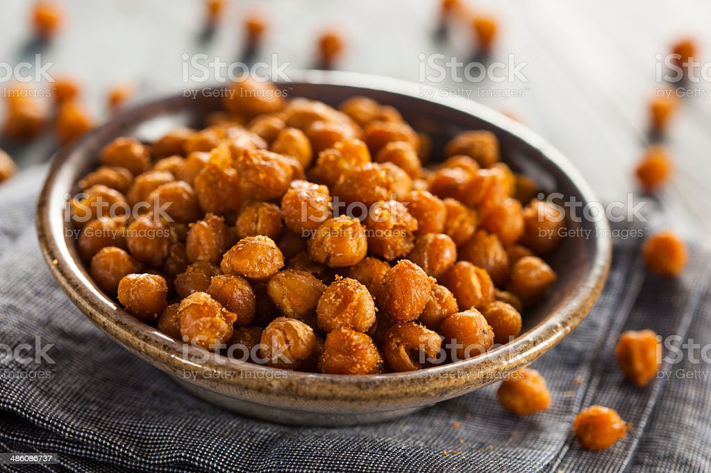 Healthy Roasted Seasoned Chick Peas stock photo