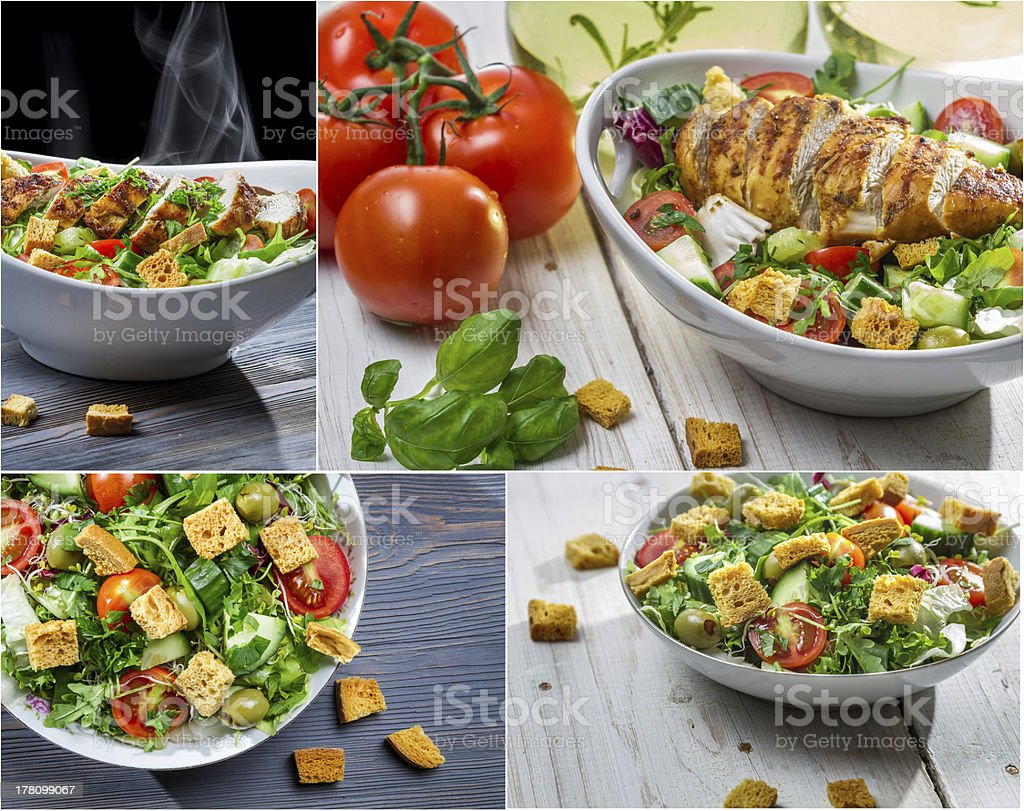 Healthy salad with chicken and fresh vegetables royalty-free stock photo