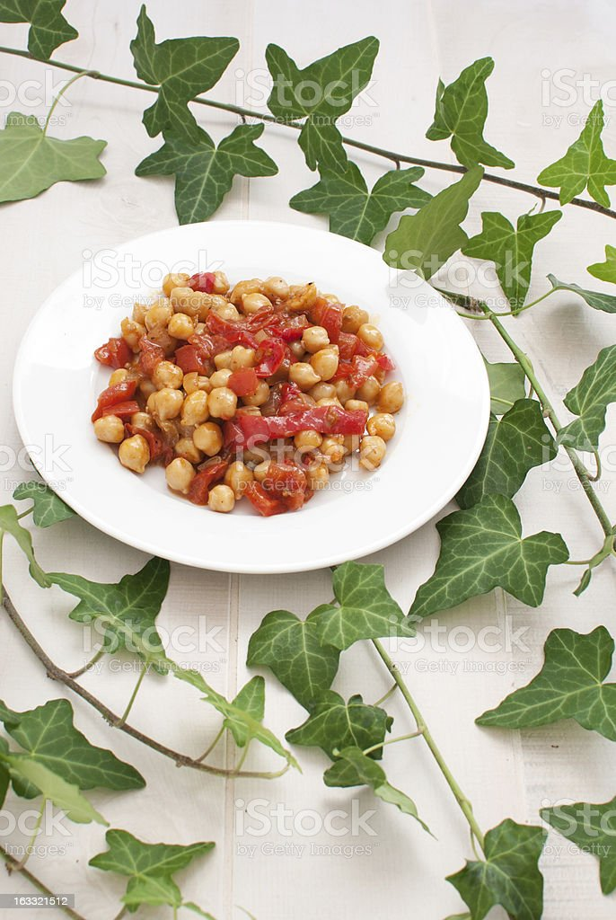 Healthy salad with chickpeas and vegetables stock photo