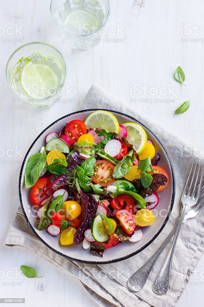 healthy salad with fresh summer vegetables stock photo