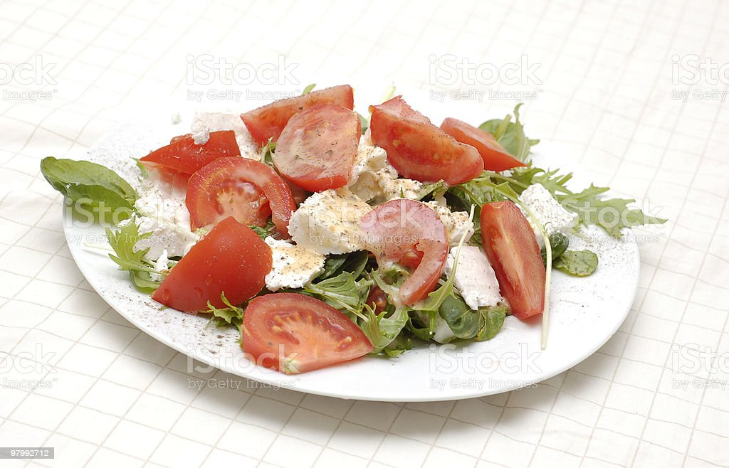 Healthy salad with tomatos, feta and capsicum royalty-free stock photo