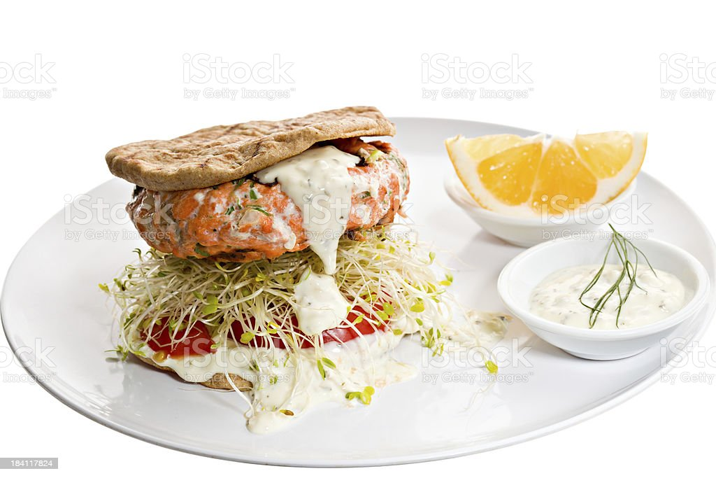 Healthy Salmon Burger stock photo