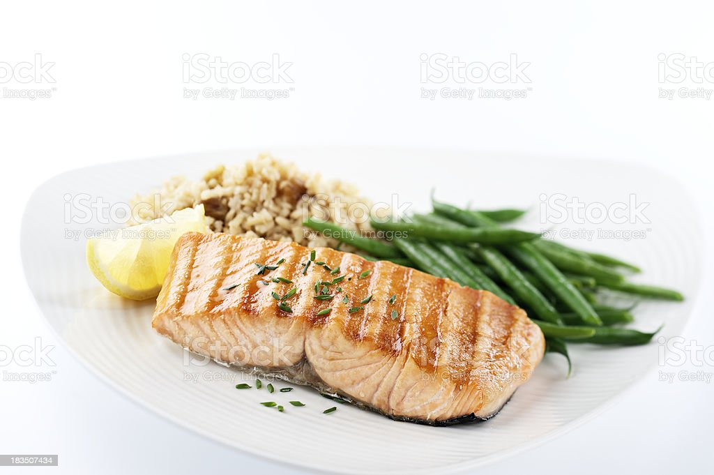 Healthy Salmon Dinner stock photo