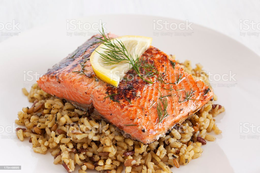 Healthy salmon dish royalty-free stock photo