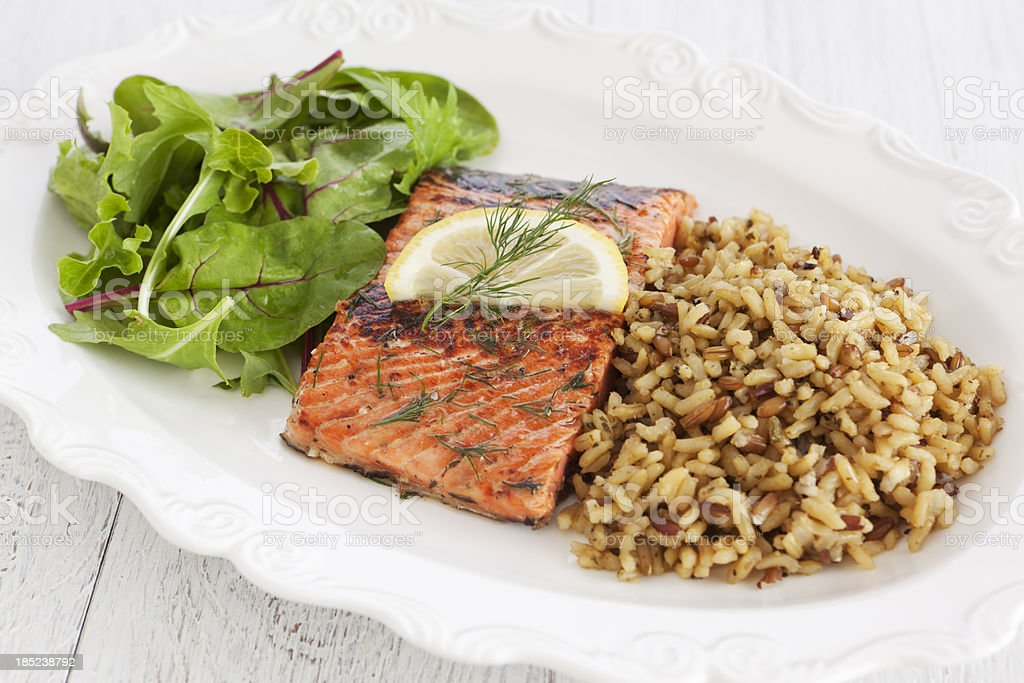 Healthy salmon meal royalty-free stock photo