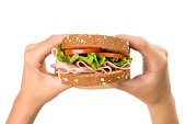Healthy sandwich in woman hands
